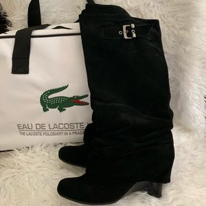 Naughty MonkeyBlack Leather Slouch Boots Size 7.5